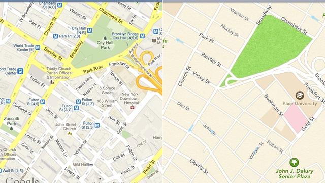 Google Maps returns