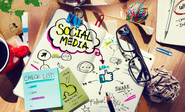 Social Media Ideas Designer Desk Architectural Tools Office Concept